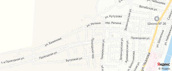 Переулок Баженова на карте села Старокучергановка Астраханской области с номерами домов