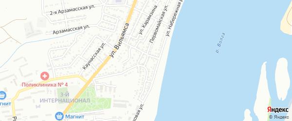 Поперечный 1-й переулок на карте Астрахани с номерами домов