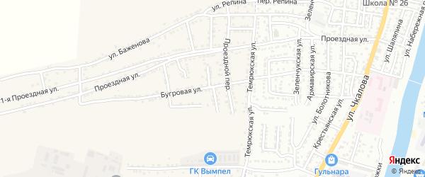 Бугровой переулок на карте Астрахани с номерами домов
