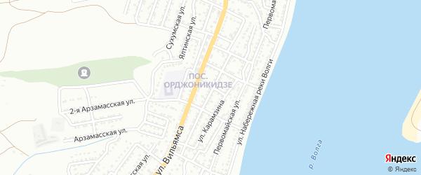 Большой переулок на карте Астрахани с номерами домов
