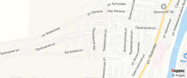 Проездной переулок на карте села Старокучергановка Астраханской области с номерами домов
