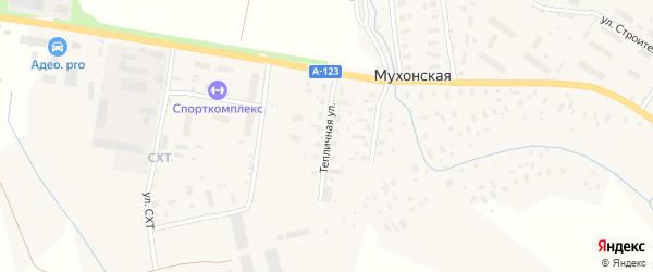 Тепличная улица на карте Мухонской деревни Архангельской области с номерами домов