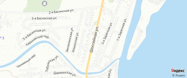 Шоссейная улица на карте Астрахани с номерами домов
