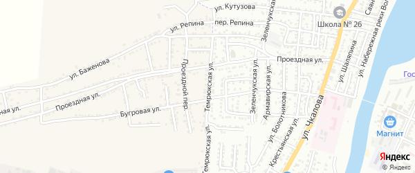Темрюкская улица на карте села Старокучергановка Астраханской области с номерами домов
