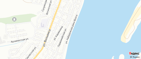 Улица Набережная реки Волги на карте Астрахани с номерами домов