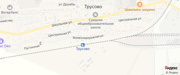 Железнодорожная улица на карте поселка Трусово Астраханской области с номерами домов