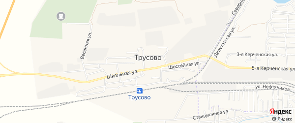 Карта поселка Трусово в Астраханской области с улицами и номерами домов
