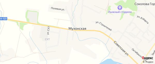 Карта Мухонской деревни в Архангельской области с улицами и номерами домов