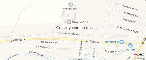 Окольная улица на карте села Старокучергановка Астраханской области с номерами домов