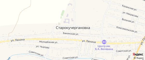 Крымская улица на карте села Старокучергановка Астраханской области с номерами домов