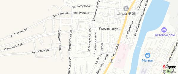 Зеленчукская улица на карте Астрахани с номерами домов