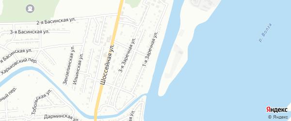 1-я Заречная улица на карте Астрахани с номерами домов