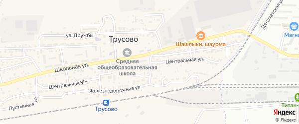 Центральная улица на карте поселка Трусово Астраханской области с номерами домов