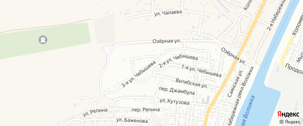 Улица 3-я Чебышева на карте Астрахани с номерами домов