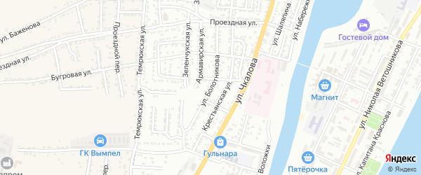 Улица Болотникова на карте Астрахани с номерами домов
