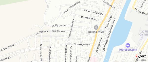 Переулок Репина на карте Астрахани с номерами домов