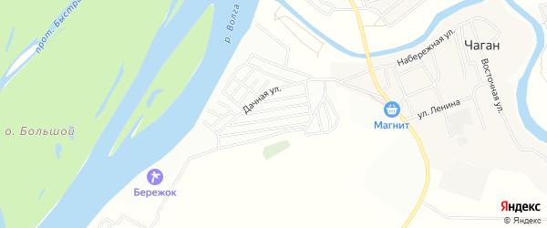 Садовое товарищество Дельта-2 на карте села Чагана Астраханской области с номерами домов