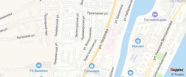 Горьковский переулок на карте Астрахани с номерами домов