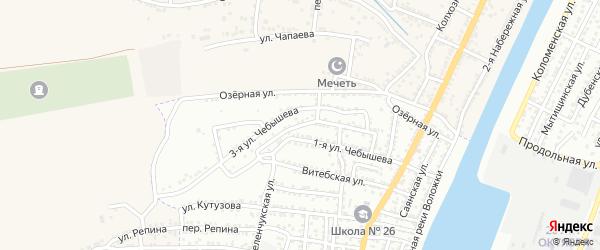 Чебышева 2-я улица на карте Астрахани с номерами домов
