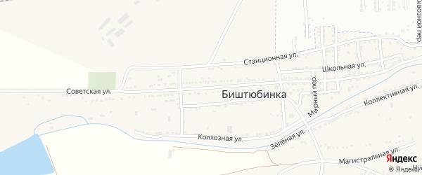 Советская улица на карте села Биштюбинка Астраханской области с номерами домов