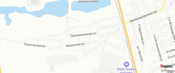 2-й Промышленный переулок на карте Астрахани с номерами домов