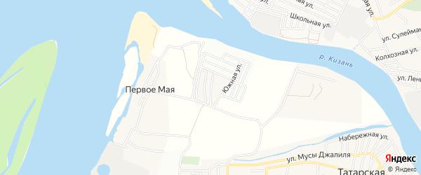 Карта поселка Первого Маи в Астраханской области с улицами и номерами домов