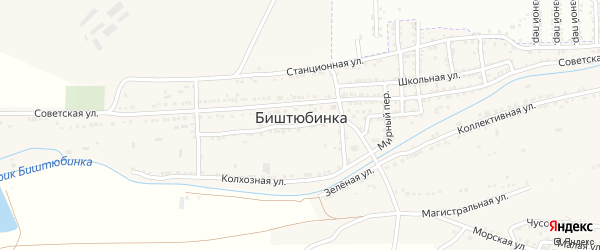Советский переулок на карте села Биштюбинка Астраханской области с номерами домов