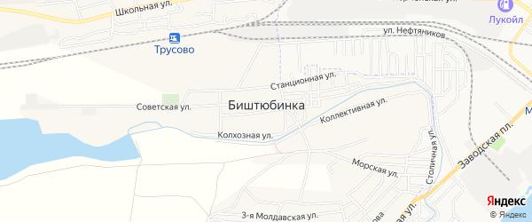 Территория СНТ Водник - 1 на карте села Биштюбинка Астраханской области с номерами домов