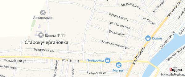 Комсомольская улица на карте села Старокучергановка Астраханской области с номерами домов