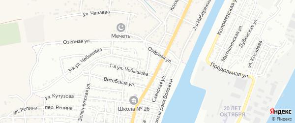 Саянский переулок на карте Астрахани с номерами домов