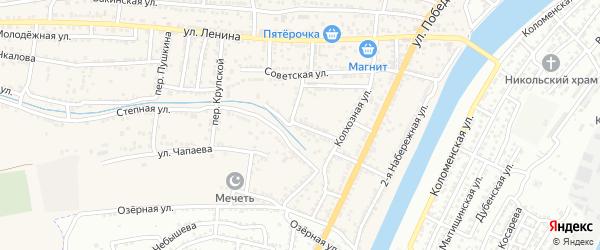 Солдатская улица на карте села Старокучергановка Астраханской области с номерами домов