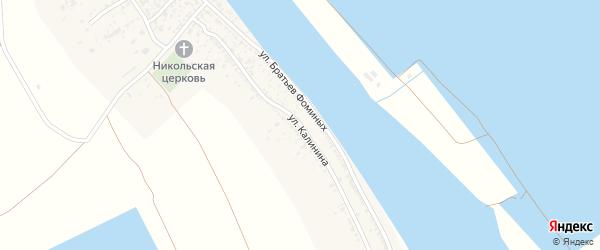 Улица Калинина на карте Полдневого села Астраханской области с номерами домов