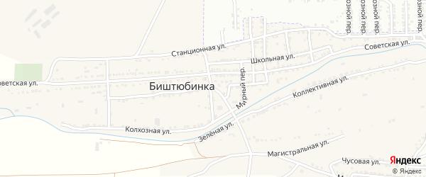 Набережный переулок на карте села Биштюбинка Астраханской области с номерами домов