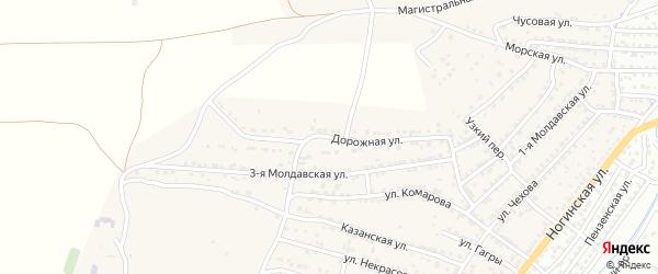 Дорожная улица на карте села Старокучергановка Астраханской области с номерами домов