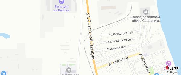 Улица Советской Гвардии на карте Астрахани с номерами домов
