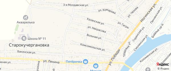 Совхозный переулок на карте села Старокучергановка Астраханской области с номерами домов