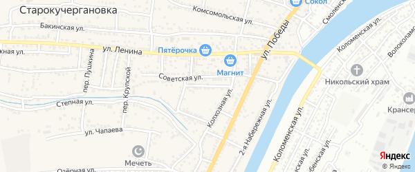 Пионерская улица на карте села Старокучергановка Астраханской области с номерами домов