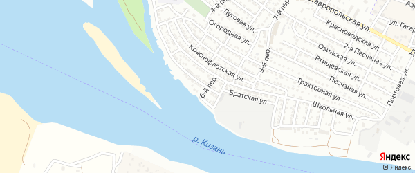 Самаркандский 6-й переулок на карте Астрахани с номерами домов