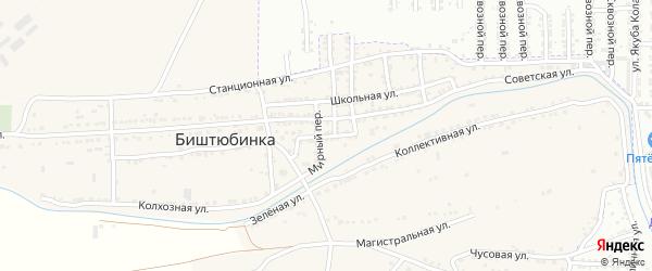 Набережная улица на карте села Биштюбинка Астраханской области с номерами домов