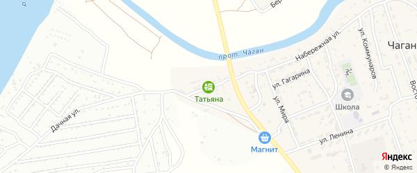Дачная улица на карте села Чагана Астраханской области с номерами домов