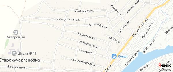 Казанская улица на карте села Старокучергановка Астраханской области с номерами домов