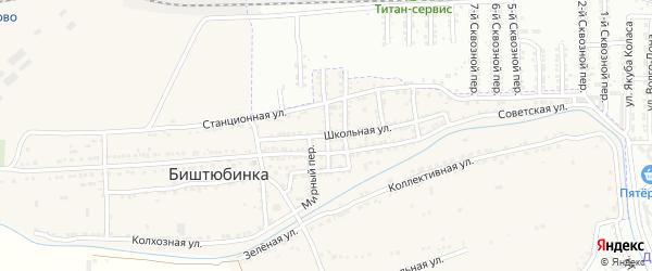 Сквозной переулок на карте села Биштюбинка Астраханской области с номерами домов
