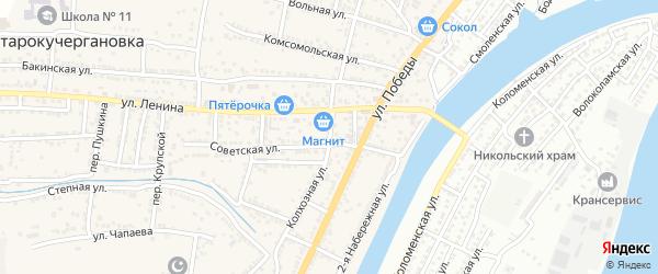 Колхозная улица на карте села Старокучергановка Астраханской области с номерами домов