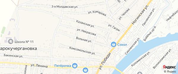 Вольный переулок на карте села Старокучергановка Астраханской области с номерами домов