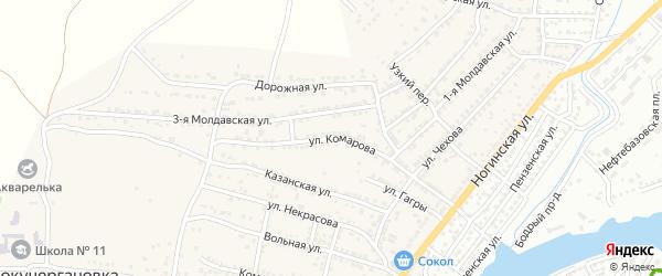 Улица Комарова на карте села Старокучергановка Астраханской области с номерами домов