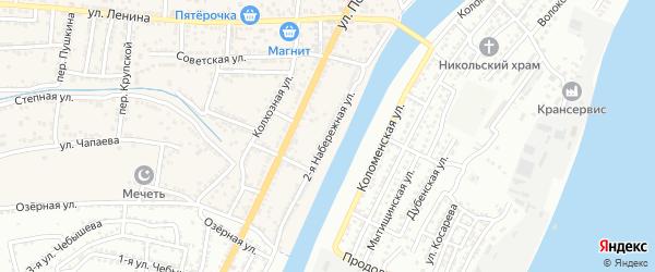 Набережная 2-я улица на карте села Старокучергановка Астраханской области с номерами домов