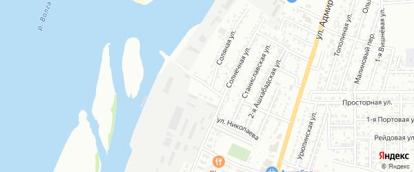 Солнечный переулок на карте Астрахани с номерами домов