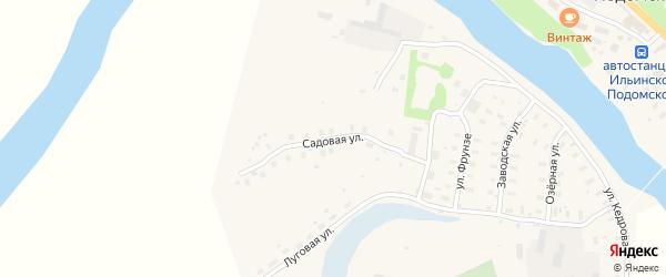 Садовая улица на карте Ильинско-Подомского села Архангельской области с номерами домов