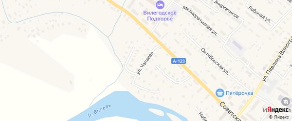 Улица Чапаева на карте Ильинско-Подомского села Архангельской области с номерами домов