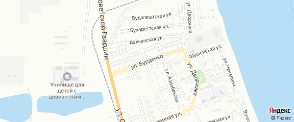 Улица Бурденко на карте Астрахани с номерами домов